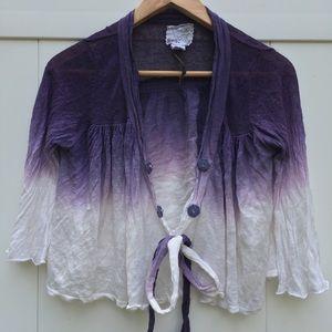 Anthropologie Ryu: Purple Tie-Dye Wrap Cardigan